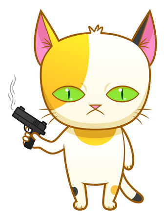 calico: Weird kitten with a gun Illustration