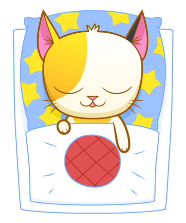 calico: Cute calico kitten sleeping in bed. Illustration