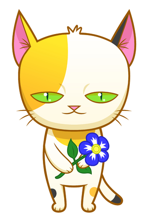calico: Weird cute kitten with a flower