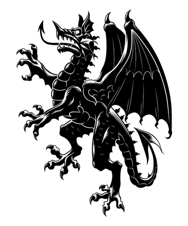 Heraldic dragon vertical Illustration