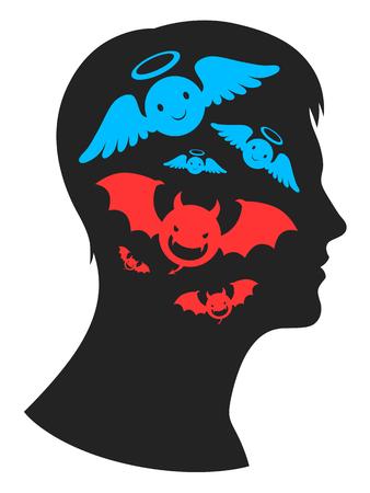 Ángel y demonio en la cabeza Ilustración de vector