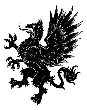 Heraldic rampant griffin Illustration