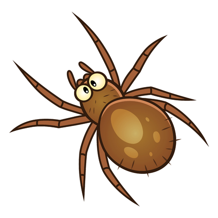 Brown spider pest. Cartoon pest series. Çizim