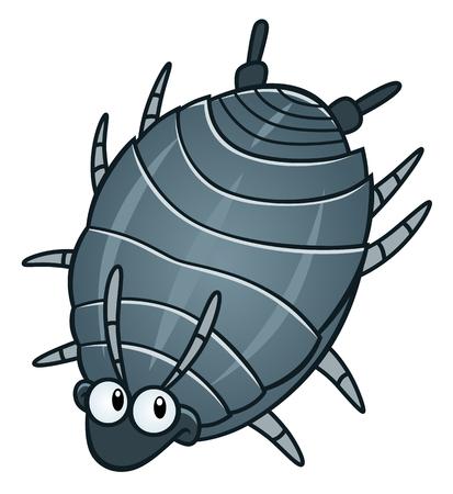 Funny cartoon woodlouse. Cartoon pest series. Illustration
