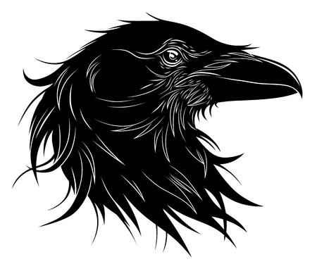 Black raven head, vector illustration. Stock Illustratie