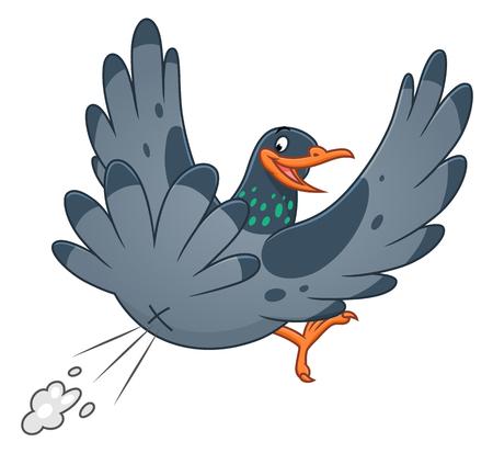 Pooping cartoon funny pigeon, vector illustration.
