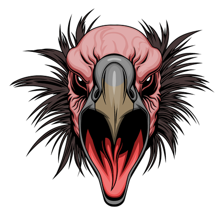 Screaming vulture head, vector illustration. Ilustração