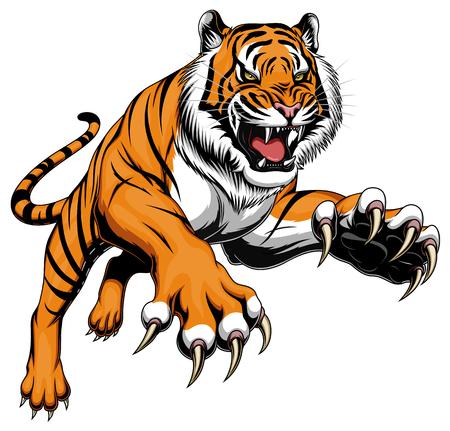 Leaping tiger  イラスト・ベクター素材