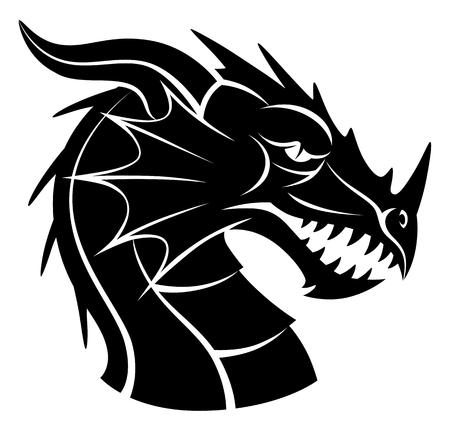 Testa di drago in bianco e nero Vettoriali