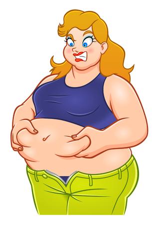 Funny cartoon fat woman  イラスト・ベクター素材