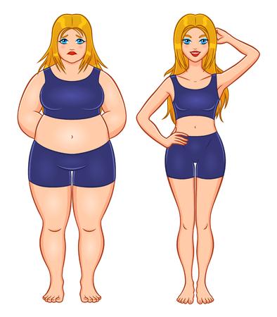 Slim and fat woman Illustration