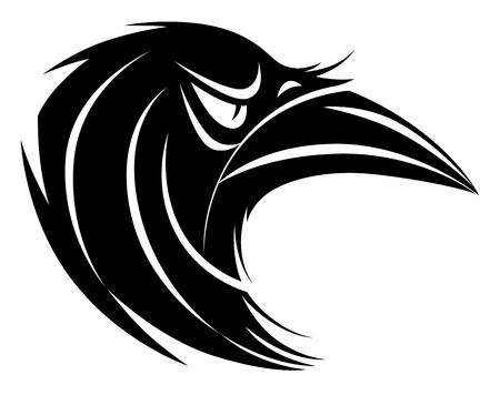 Stylized black and white raven head Illusztráció
