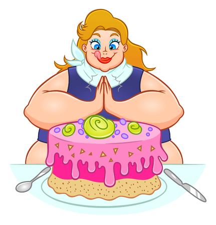 Dikke vrouw gaat een enorme taart eten. Stock Illustratie