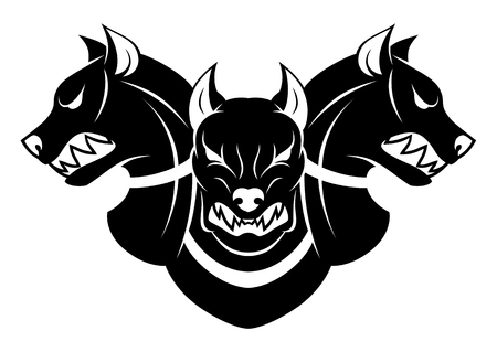 Cerberus heads black and white Illustration