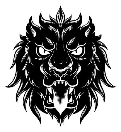 Heraldic lion head front Illustration