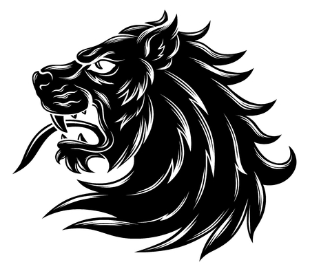 Heraldieke leeuwenkop Stock Illustratie