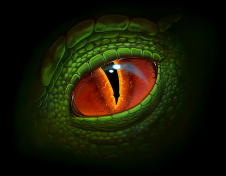 Green dragons eye digital realistic painting. Imagens