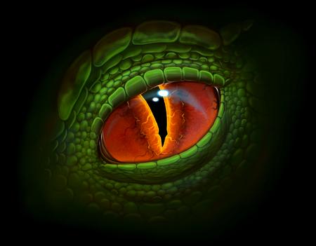 Green dragon's eye digital realistic painting.