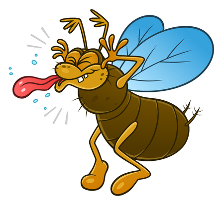impudent: Cartoon snide insect showing a tongue.