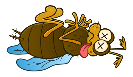 Funny cartoon dead insect. Vector pest series.