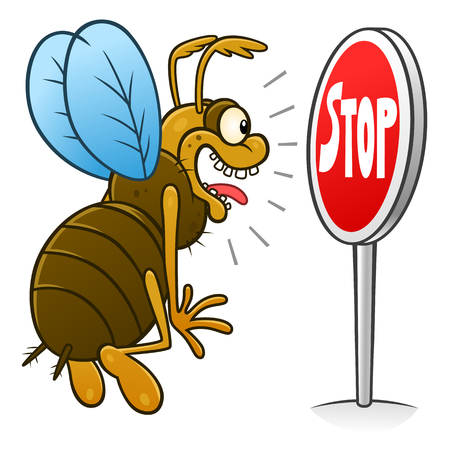 Stop pest illustration with a funny cartoon insect. Çizim