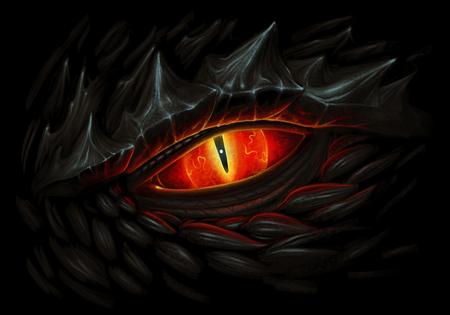Glowing red eye of black dragon. Digital painting.