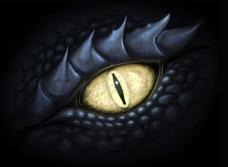 드래곤의 노란 눈. 디지털 페인팅.
