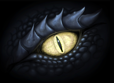 Yellow eye of dragon. Digital painting. Imagens