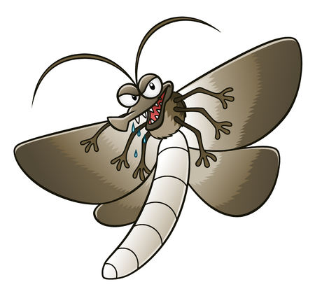 Cartoon funny moth on the white background. Vector pest series.