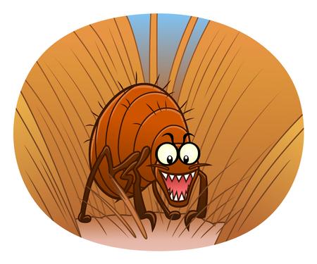 Flea in animal fur Illustration