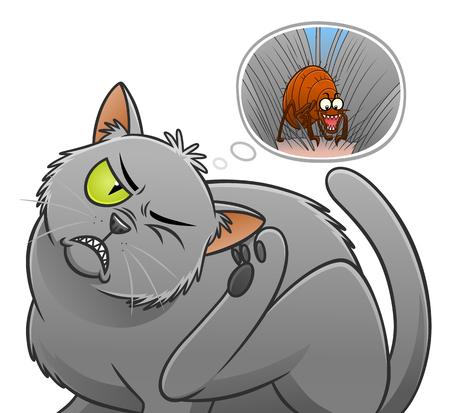 Gato rascándose a sí mismo y pensando en la pulga