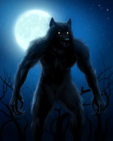 Werewolf and moon Stok Fotoğraf