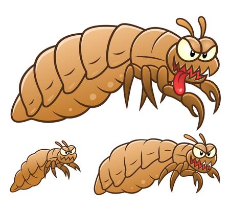 Three cartoon lice. Cartoon pest series.