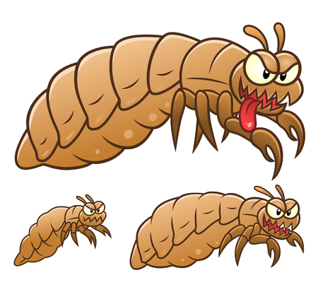 Three cartoon lice. Cartoon pest series.