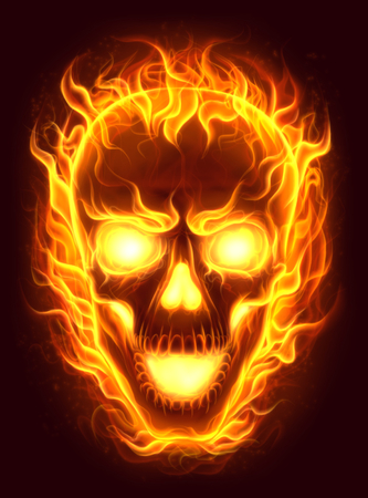 Three fire skulls stock photo picture and royalty free image fire skull photo voltagebd Images