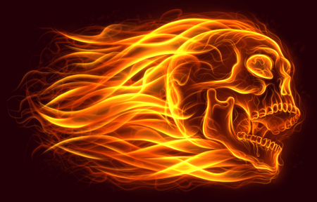Flaming human skull digital painting.