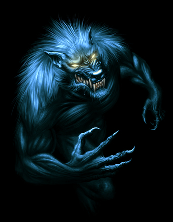 Werewolf with glowing eyes