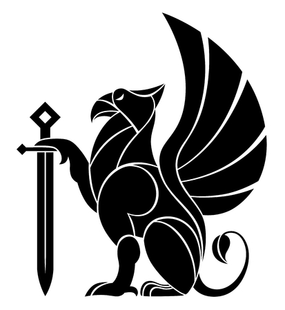 Decorative griffin with sword Illustration