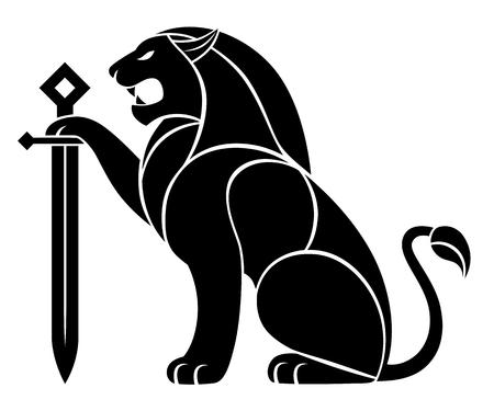 Lion décoratif avec épée