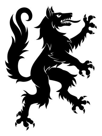 Lobo heráldico simple ilustración vectorial.