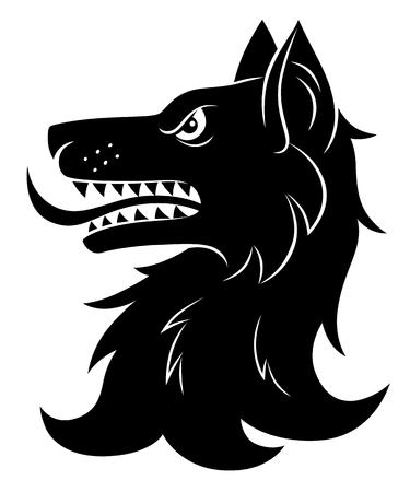 Heraldisch wolfshoofd Stock Illustratie