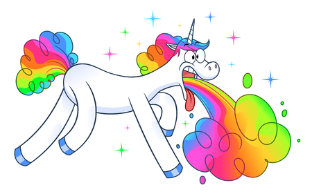 Funny unicorn makes rainbow