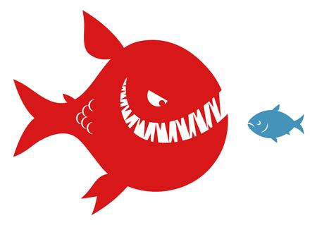 Big evil fish and small fish Illustration