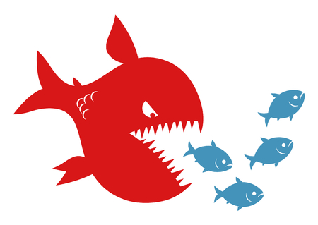Red predator fish pursues small fishes. Hierarchy and merger conception.