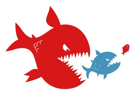 Big fish eats small fish. Hierarchy and merger conception.