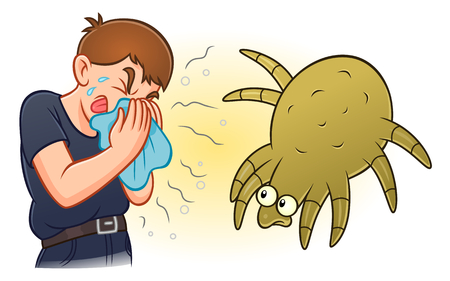 Allergy to dust mites concept illustration.