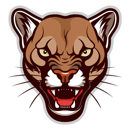Angry cougar head Illustration