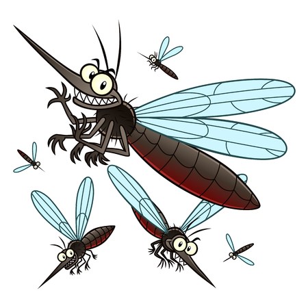 Vector illustration of flying cartoon mosquitoes. Stock Illustratie