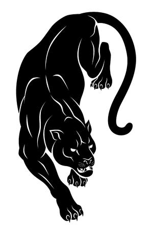 Black crouching panther.