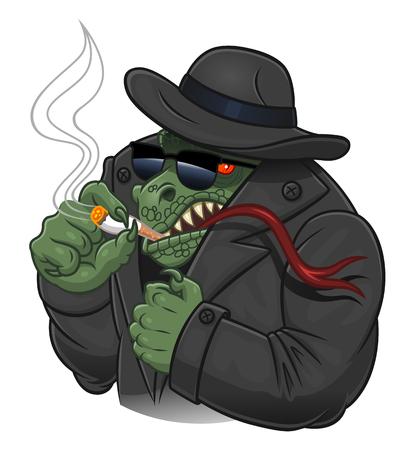 Bad evil reptilian alien in spy suit with cigarette.